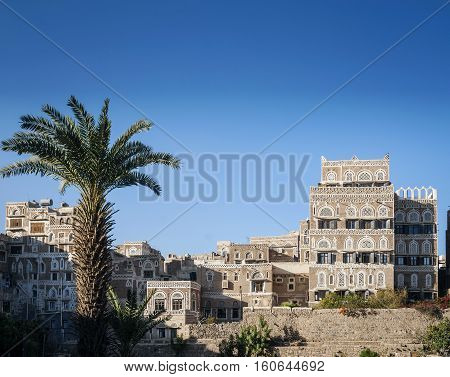 sanaa city old town traditional architecture landmark buildings view in yemen