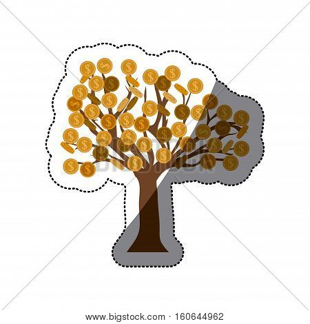 Tree of coins icon. Money financial item commerce market and buy theme. Isolated design. Vector illustration