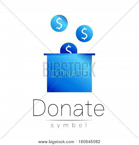 Donation sign icon. Donate money box. Charity or endowment symbol. Human helping. Icon on white background. Vector.Blue color. Concept.