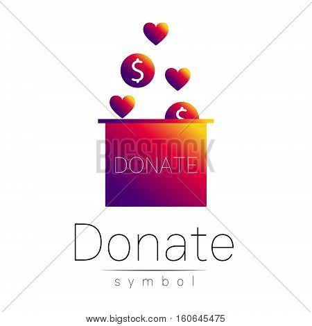 Donation sign icon. Donate money box and heart. Charity or endowment symbol. Human helping. Icon on white background. Vector.Violetc olor. Concept.
