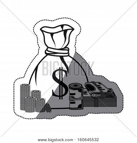 Money bag bills and coins icon. financial item commerce market and buy theme. Isolated design. Vector illustration
