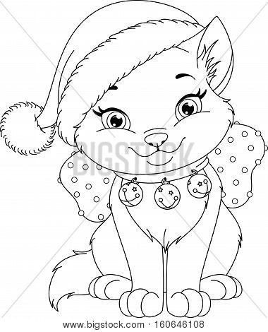 Cute Christmas Cat Coloring Page, EPS 8