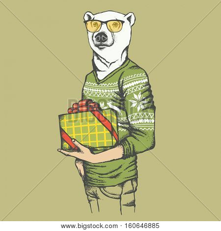White polar bear vector illustration. White polar bear in human sweatshirt with gift
