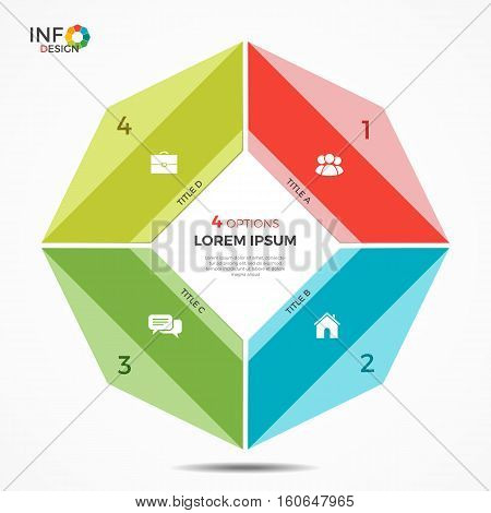 Colorful Infographic Template With 4 Options Circle Chart
