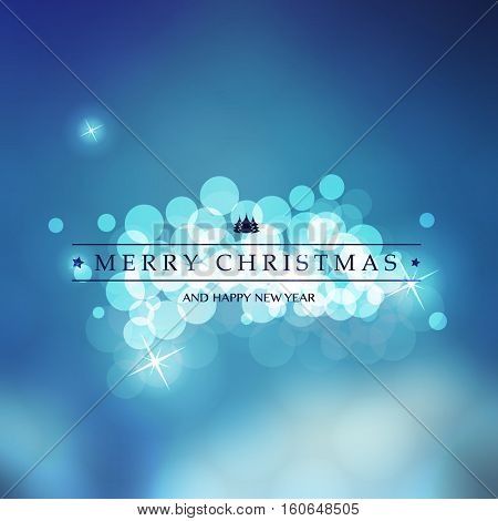 Blue and White Happy Holidays, Merry Christmas, New Year Greeting Card With Label on a Sparkling Blurred Background