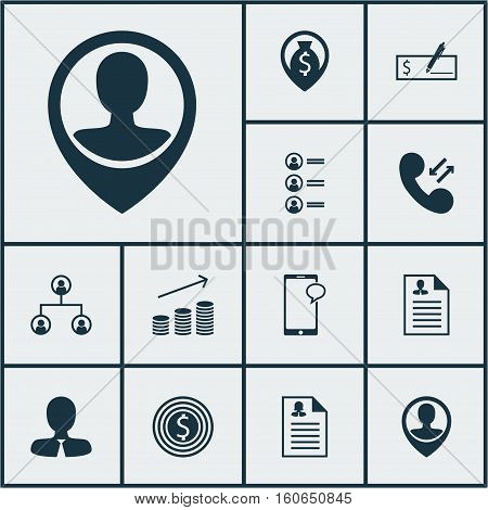 Set Of Human Resources Icons On Messaging, Business Goal And Coins Growth Topics. Editable Vector Illustration. Includes Male, Profile, Money And More Vector Icons.
