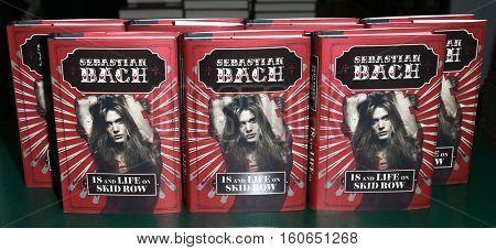 HUNTINGTON, NY-DEC 5: Singer Sebastian Bach copies of his book