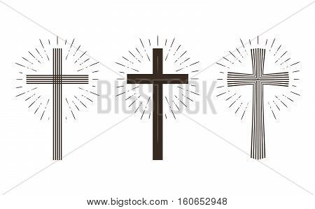 Religion cross icon or symbol. Vector illustration isolated on white background