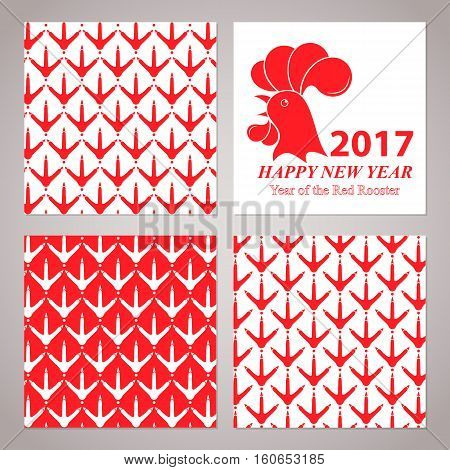 Greeting card for the New Year 2017. Red rooster on white background. Set of seamless patterns with chicken footprints.