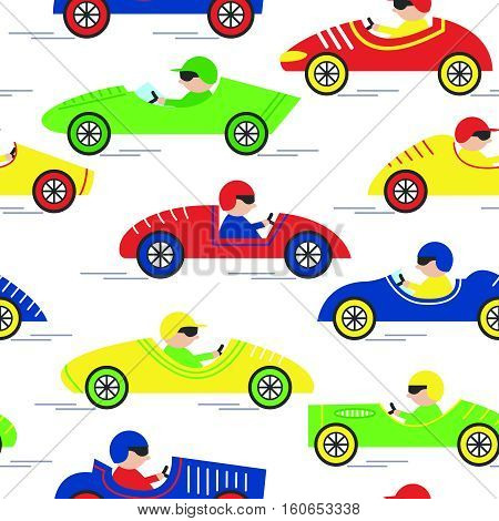 Vector race retro sport car seamless pattern. Vintage automobiles with drivers isolated on white background.