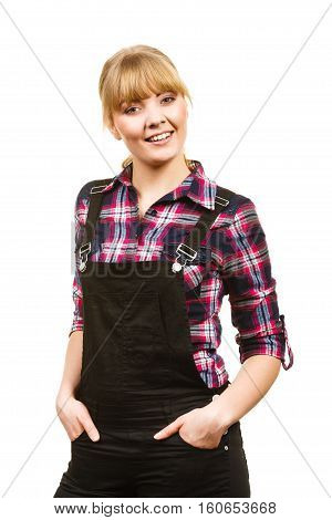 Smiling Standing Woman Wearing Dungarees And Shirt