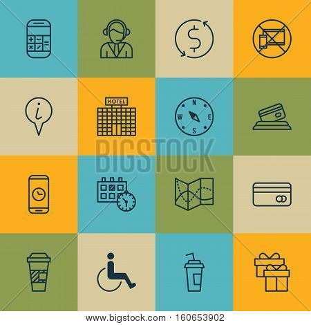 Set Of Travel Icons On Drink Cup, Money Trasnfer And Info Pointer Topics. Editable Vector Illustration. Includes Gift, Phone, Calculator And More Vector Icons.