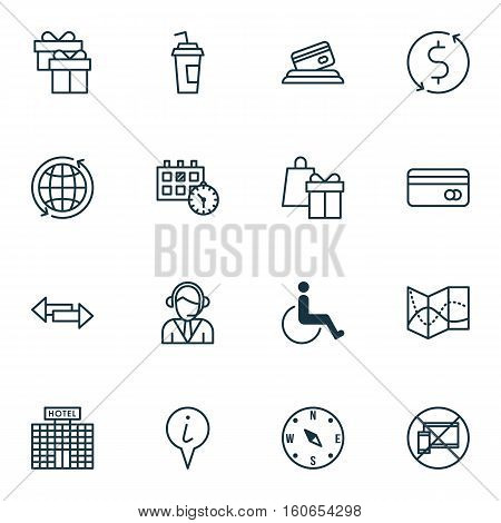 Set Of Travel Icons On World, Crossroad And Forbidden Mobile Topics. Editable Vector Illustration. Includes Map, Building, Cup And More Vector Icons.