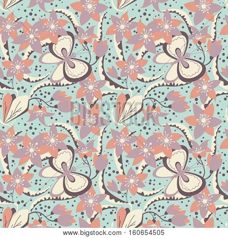 Floral vector seamless pattern with cute butterfly and dragonfly. Nature blossom elegance wallpaper