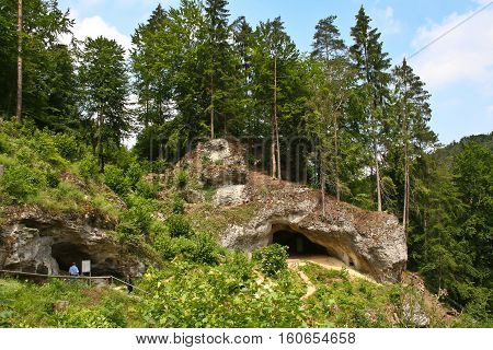 Landscape with cave. Devil's Cave (near Pottenstein)
