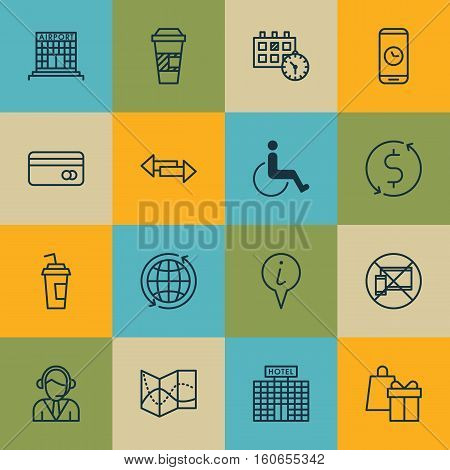 Set Of Traveling Icons On Accessibility, Plastic Card And Call Duration Topics. Editable Vector Illustration. Includes Takeaway, Appointment, Mobile And More Vector Icons.