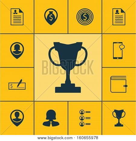 Set Of Hr Icons On Curriculum Vitae, Bank Payment And Messaging Topics. Editable Vector Illustration. Includes Trophy, Male, Prize And More Vector Icons.
