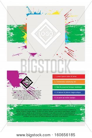 Abstract vector template design, two-sided flayers, brochure, web sites, bilateral page, leaflet, with colorful watercolor paint splash.