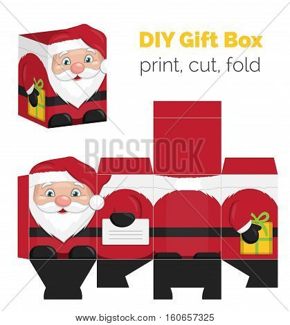 Lovely DIY handmade Christmas Santa Claus shaped gift box for small presents, unfolded box dieline. Print it on thick paper, cut out, fold according to the lines.