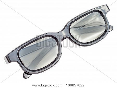 Black plastic 3D glasses for cinema isolated on a white background