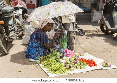 Illustrative image. Pondicgery, Tamil Nadu, India - Marsh 03, 2014. Shop of fruits and vegetables, itinerant trade small merchant