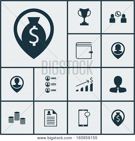 Set Of Management Icons On Money Navigation, Tournament And Female Application Topics. Editable Vector Illustration. Includes Conference, Coins, Phone And More Vector Icons.