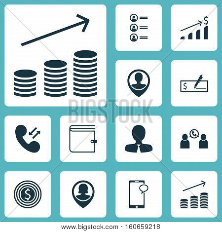 Set Of Hr Icons On Wallet, Cellular Data And Bank Payment Topics. Editable Vector Illustration. Includes Increase, Bank, Coins And More Vector Icons.
