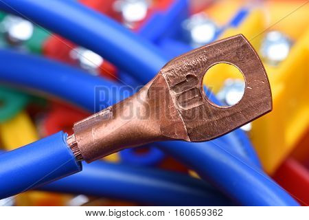 Electrical Cable with Copper Lug with blurred background