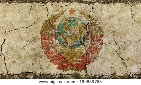 Old Grunge Faded Ussr Soviet Union Emblem