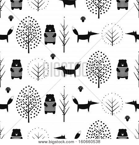 Fox, bear, trees and mushroom seamless pattern on white background. Black and white scandinavian style nature illustration. Cute forest with animals design for textile, wallpaper, fabric.