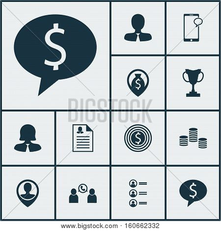 Set Of Management Icons On Employee Location, Female Application And Tournament Topics. Editable Vector Illustration. Includes Money, User, Chat And More Vector Icons.