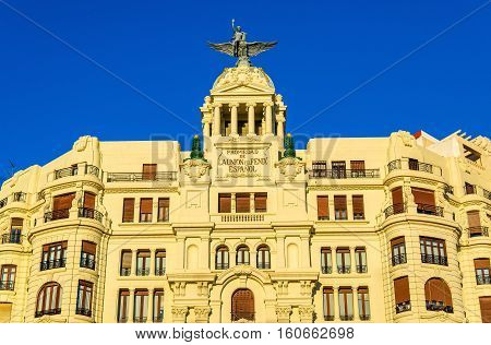 Ancient building at the crossroad of Carrer de Xativa and avenue Marques de Sotelo in Valencia - Spain
