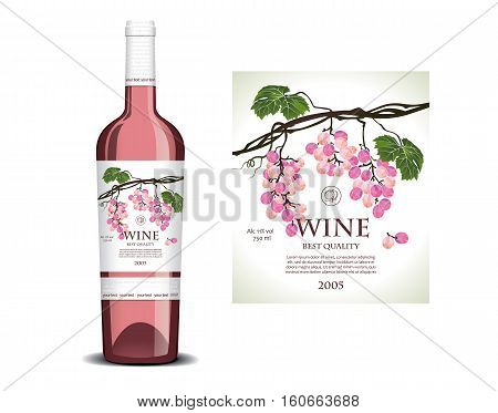 Conceptual label on the bottle  for rose wine