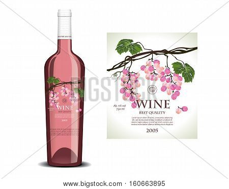 Conceptual transparent label on the bottle for rose wine