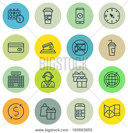 Set Of Travel Icons On Locate, Operator And Forbidden Mobile Topics. Editable Vector Illustration. Includes Hotel, Transfer, Debit And More Vector Icons.