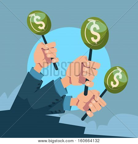 Hand Group Hold Green Money Business Funding Flat Vector Illustration