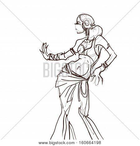 Dancer dance a tribal fusion gypsy dance