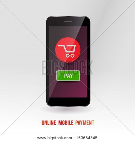 Mobile online payment service. Modern gadget with technology to buy via internet shopping concept. Purchase symbol on mobile device screen. Vector illustration.