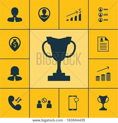 Set Of Hr Icons On Cellular Data, Successful Investment And Money Navigation Topics. Editable Vector Illustration. Includes Prize, Mobile, Male And More Vector Icons.