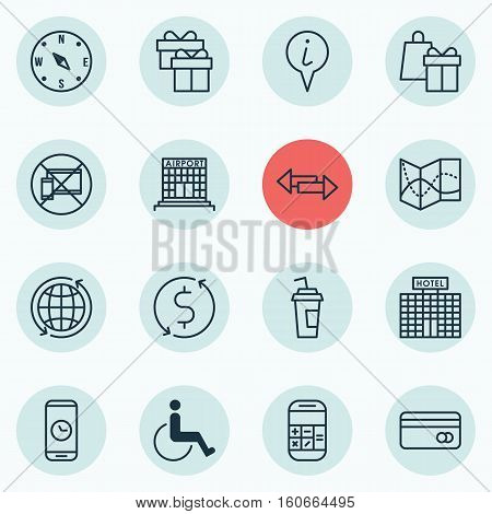Set Of Transportation Icons On Shopping, Crossroad And Plastic Card Topics. Editable Vector Illustration. Includes Dollar, Office, Paralyzed And More Vector Icons.