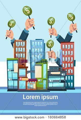 Hand Group Hold Green Money Business Funding Modern City Office Center Flat Vector Illustration