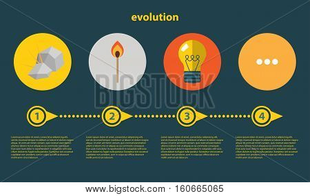Evolution concept. Infographics with flat images of flint, match and bulb lamp