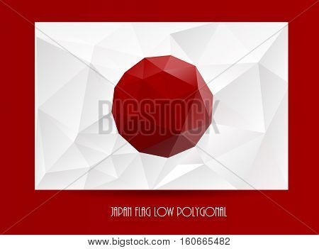 National flag of Japan. Low polygonal texture background. Vector pattern for wallpaper, banner.