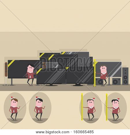 vector illustration showing sales assistants in two versions