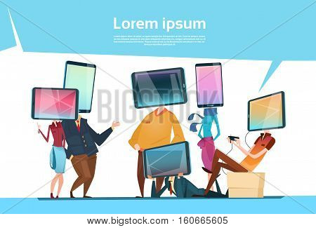 People Group Cell Smart Phone Head Social Network Communication Flat Vector Illustration