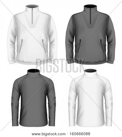 Men's fleece sweater and sweater ( front view). Vector illustration. Fully editable handmade mesh.