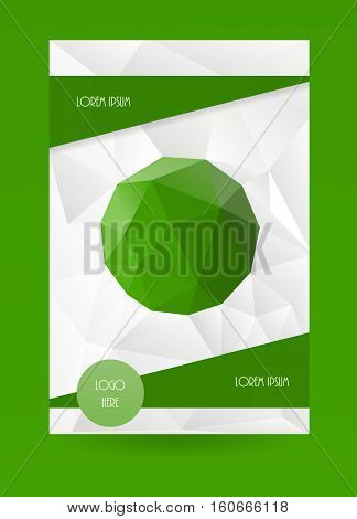 Cover template. Vertical presentation vector design. Brochure page background. Abstract green color booklet layout.