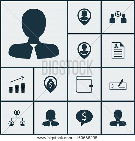 Set Of Human Resources Icons On Business Deal, Pin Employee And Manager Topics. Editable Vector Illustration. Includes Phone, Check, Bank And More Vector Icons.