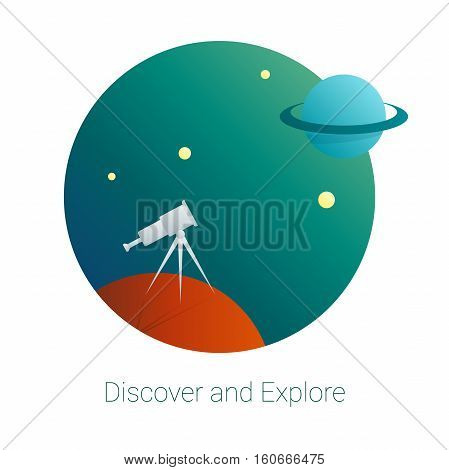 Cartoon styled artwork with telescope and planet. Discovery and exploration concept. Exploration logo