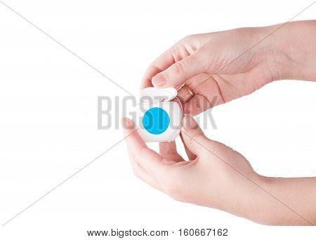 Dental floss in hand isolated on white background. Dental care
